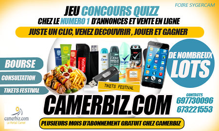 Quiz: several lots to win on Camerbiz.com