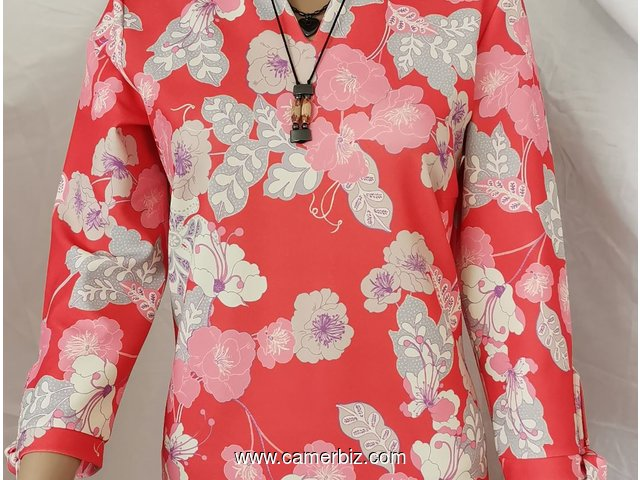 Robe Fashion rose fleurie manches 3/4 7995 F CFA (CR0026) - 10276