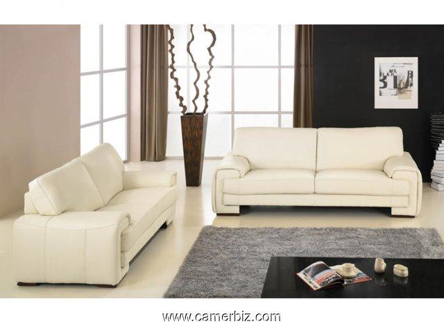 nouveau concept 87b5c 30c21 Magnifique salon en cuir blanc cassé 7 places - Ameublement YAOUNDE -  Cameroun - Camerbiz.com