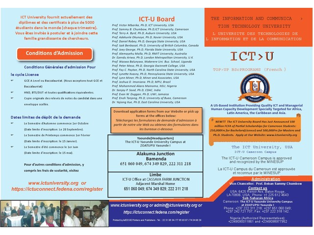 The ICT-University USA, Cameroon campus 25% OFF. Be Marketable and get a Good Job!!! - 426