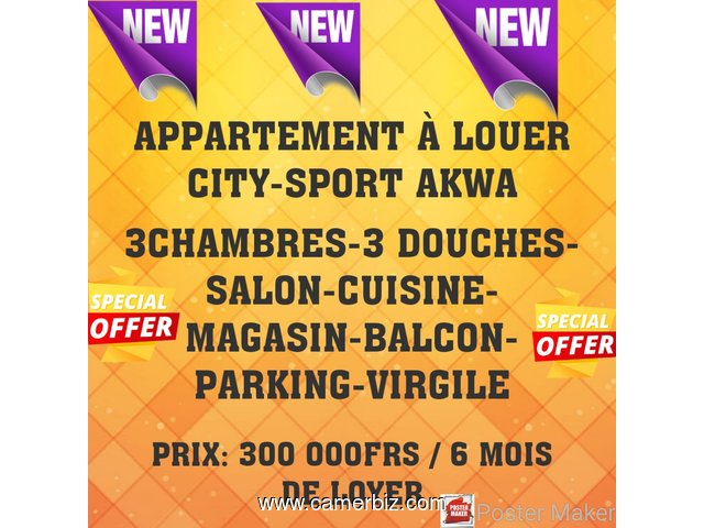 Appartement à louer à Akwa City-Sport - 4683