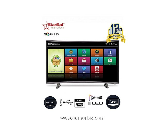 "TV LED Smart Ultra Slim 43"" 43LED1000 - Incurvée - HDMI, USB - Noir - VGA - 12 Mois - 4828"