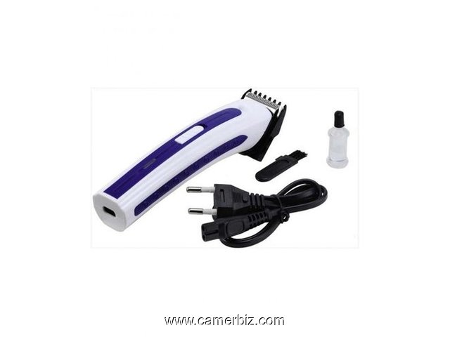 Rechargeable Hair Trimmer - White And Blue - 6953