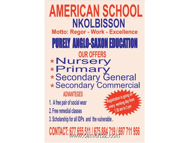 AMERICAN COLLEGE – NKOLBISON PURELY ANGLOSAXON EDUCATION SITUATED 300M FROM CARRIFOUR NKOLBISON COME - 9365